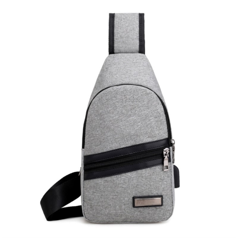Male External USB Charge Chest Bags, Antitheft Travel Crossbody Bag